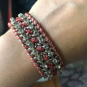 Pink leather and rhinestone bracelet.